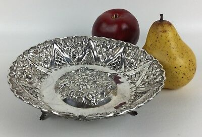Antique Sterling Silver Footed Open Bowl with Flower Pattern - 7 1/2""