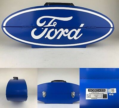 "GO BOX Ford Oval Shape Metal Box Blue White AUTHENTIC FORD LICENSED 27.5""x7.5"""