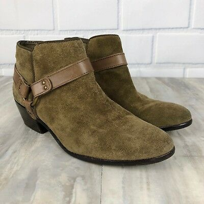6ed3ff6e0 Sam Edelman Phoenix Suede Harness Ankle Booties Taupe Olive Green Size 8.5