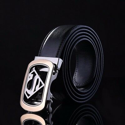 New Mens Superman Alloy Automatic Buckle Belt Ratchet Strap Waistband For Jeans