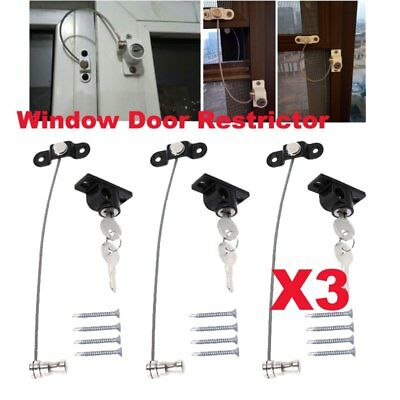 Window Limit Lock Restrictor Baby Safety Security Cable Locking Catch Wire BE