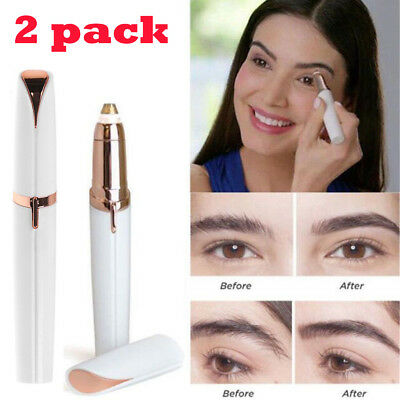 Electric Finishing Touch Painless Brows Hair Remover Face Eyebrow LED Light 2Pk