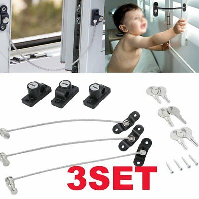 Window Door Restrictor Safety Locking UPVC Child Baby Security Wire Cable BE