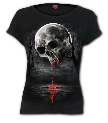 Spiral Direct DEATH MOON - Boat neck Cap Sleeve Top Skulls/Blood/Cross/Gothic