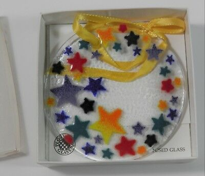"""Peggy Karr Fused Glass Ornament Signed 3.5"""" Multi-Color Stars"""