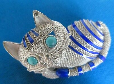Vintage SILVER Chinese Cat  Brooch With Turquoise Eyes  Decorated With Enamel.