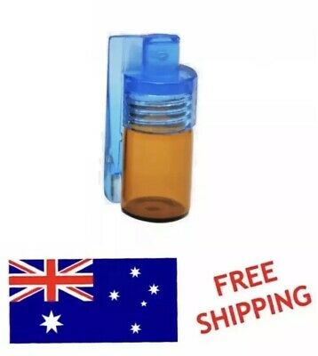1 x Small Acrylic Mini Snuff Bullet Snorter Glass Vial With Flip Spoon-FREE SHIP