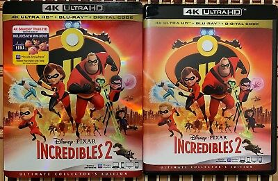 Disney Pixar Incredibles 2 4K Ultra Hd Blu Ray 3 Disc Set + Slipcover Sleeve