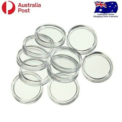 10 x 28mm Clear Coin Capsule Display Case Holder - Fits 20 Cent Australian Coin