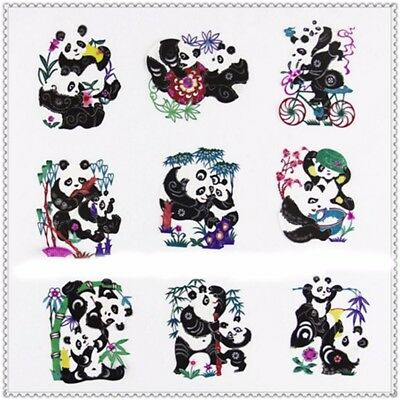Set of 9pcs Chinese Xuan Paper Cut Panda Folk Art Gift Handmade Craft 7X10cm