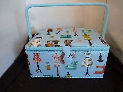 Mothers Day New Large Craft Blue Padded Sewing Box With Compartment Shelf
