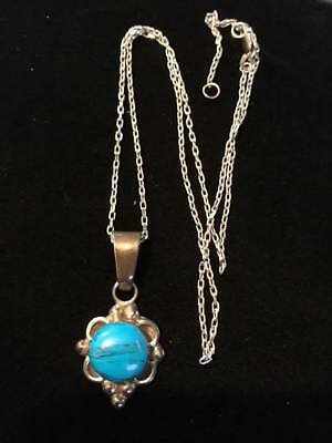 Vintage sterling silver turquoise pendant and necklace.