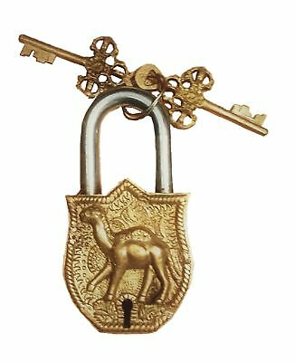 Camel Engraved Pad Lock Vintage Antique Style Handmade Brass Door Lock With Keys