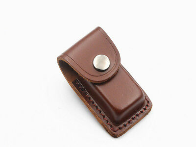 Small Cowhide Leather Sheath For Folding Knife Pouch Case up to cm Close Gift