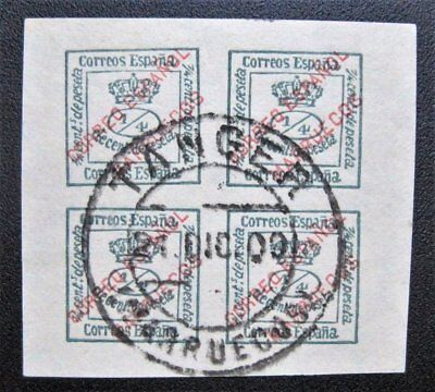 Spanish Morocco #1 Spain #221a Overprint Block of 4 used Dec 21 1909 Tanger