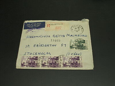 Morocco 1948 registered airmail cover to Sweden *2795