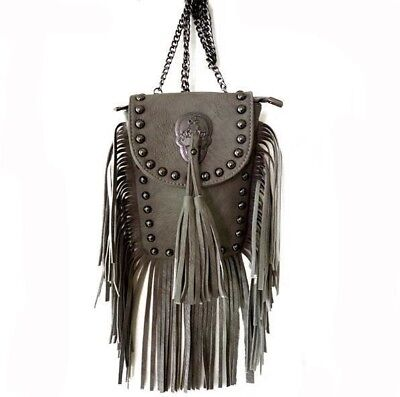 Chain Strap Tassel Decorated Pu Leather Cross Body Bag For Women