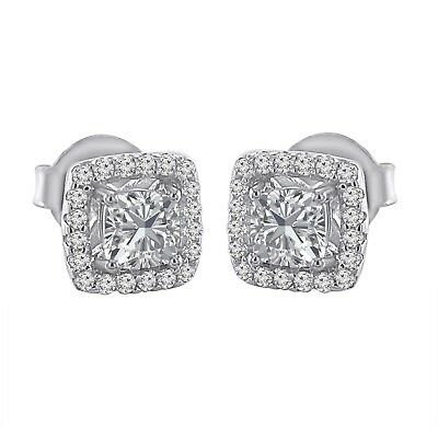 1.66 Ct Cushion Diamond Halo Stud Earrings For Women's In 14K White Gold Over
