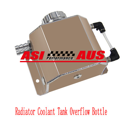 AUS Universal 1L Aluminum Coolant Radiator Overflow Recovery Water Tank Black BK