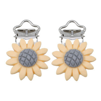 Feeding Accessories Tool 2Pcs Daisy Flower Pacifier Clip Baby Pacifier Clip BE