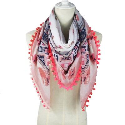 Women Scarf With Pom Poms Floral Scarf High Fashion Soft Cotton Square Hijab
