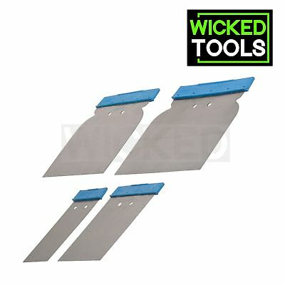 4pc Car Body Filler Spreader Application Set Flexible Steel Blades Cavity Tools