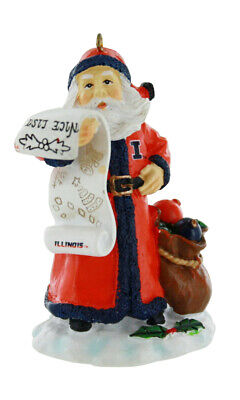 Illinois Fighting Illini Naughty/Nice List Santa Ornament