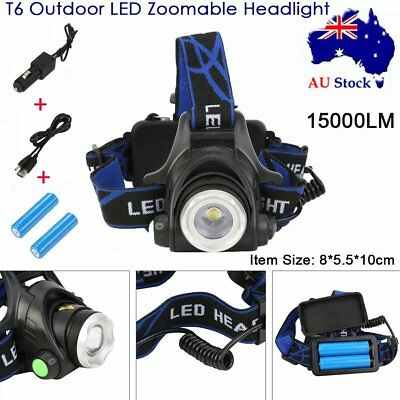 15000LM  T6 Outdoor LED Zoomable Headlight Flashlight Torch Rechargeable NEW AU