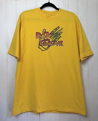 Body Glove Vintage Mens T-Shirt Tee 90s Surf Surfer Bright Yellow USA Made Sz XL