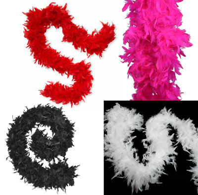 Deluxe Feather Boa Fancy Dress 95 Grams Thick Christmas Red White Black Pink Uk