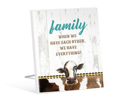 French Country Vintage Inspired Wall Art Wooden FAMILY COW Sign NEW