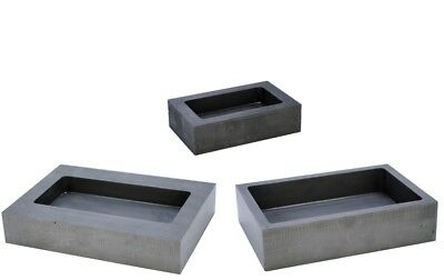 Set x 3 Rectangle Graphite Crucible Ingot Moulds Bar Melting Casting Metal J1490