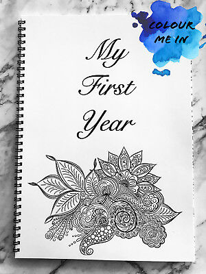 My First Year Baby Book Mandala Zentangle Memory Book Baby Shower Gift Keepsake