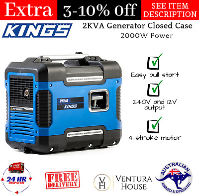 Adventure Kings 2KVA Generator Closed Case | 79cc 4-Stroke | 2000W Power Compact