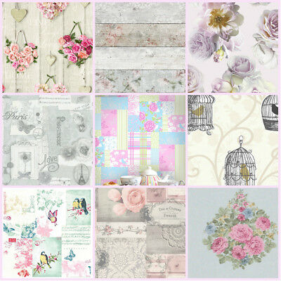 Shabby Chic Feature Wallpaper | Damask | Stripe | Floral | Grey | Pink | Blue