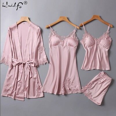 Women's 4 pieces Pajamas Sets Satin Silk Lingerie Homewear Sleepwear Autumn Pj