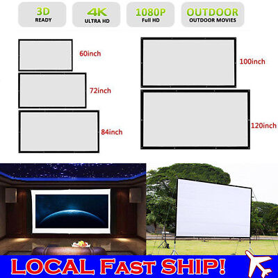 60/72/84/100/120'' Foldable Projector Screen 16:9 Portable Home Theater Outdoor