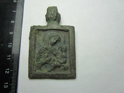 Virgin and child Medieval icon.15th century Metal detector finds. 100% original
