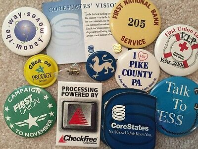 13 Bank Lapel Pin Buttons Magnets First National Corestates First Union Pike Co