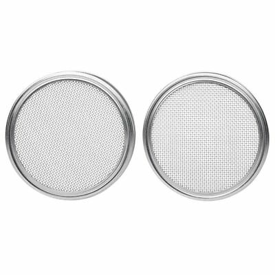 2X(Stainless Steel Sprouting Lids for Wide Mouth Mason Jars - Strainer Lid fo R3