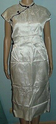 Cheongsam Dress Satin Black White Size Small Hand Made
