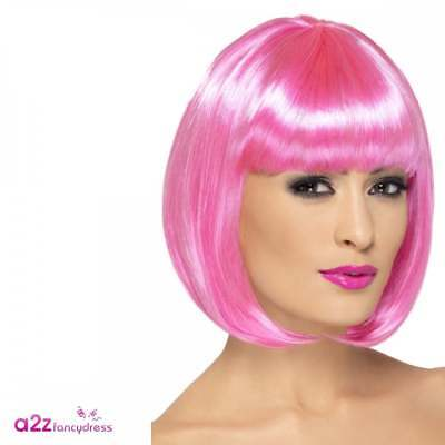 Ladies Partyrama Pink Wig - Adult fancy Dress Accessory