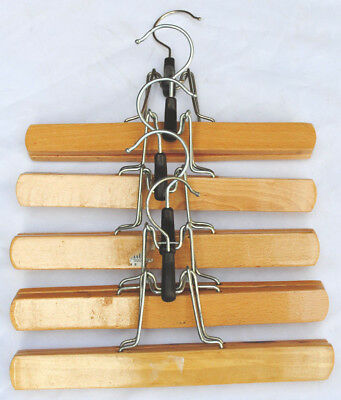 5x VINTAGE MATCHING WOODEN CLAMP CLOTHES HANGER SKIRT TROUSER HANGERS.