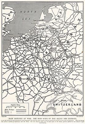 Military Map/plan,ww1, Railways Of The Allies And Germany 1915