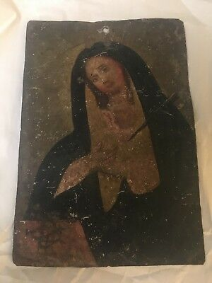 Antique 19th Century Spanish Colonial Painting / Retablo on Tin