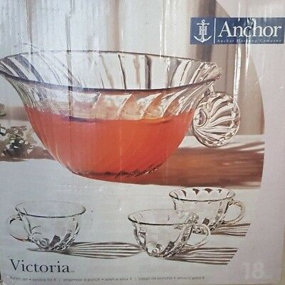 18 Piece Anchor Hocking Punch Bowl Set Victoria Bowl Ladle Cups And S Hooks