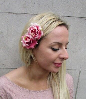 Double Ombre Hot Pink Rose Flower Hair Clip Fascinator Races Wedding Floral 6537