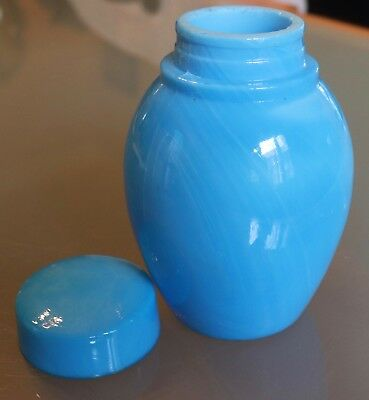 Blue Slag Opaline Art Glass Ginger Jar, Blue Lid, 1920's Mustard Pot
