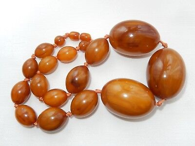 Vintage Art Deco Huge Marbled Amber Tested Bakelite Bead Necklace.