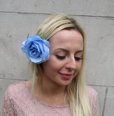 Large Cornflower Light Blue Rose Flower Hair Clip Fascinator Wedding Races 6539